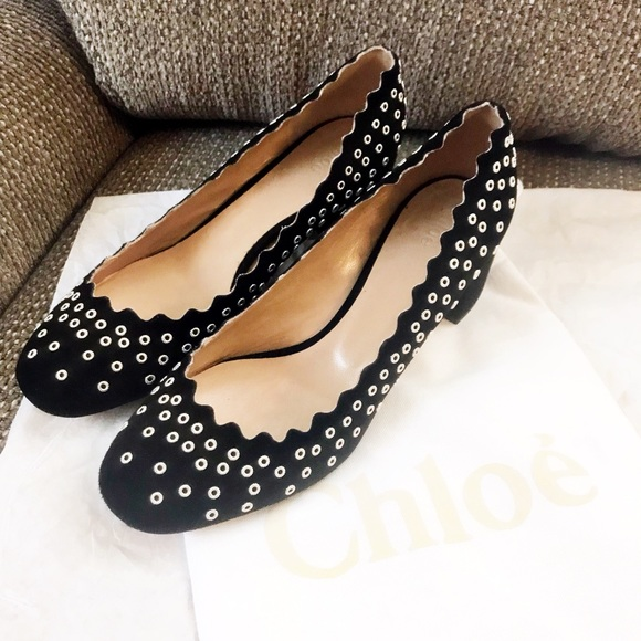 35a8e8dd547 Chloe Shoes - Authentic Chloe Scalloped  Studded Lauren Heels